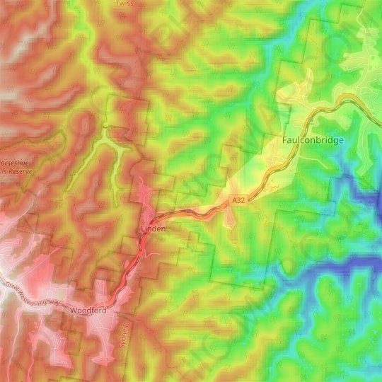 Linden topographic map, elevation, relief