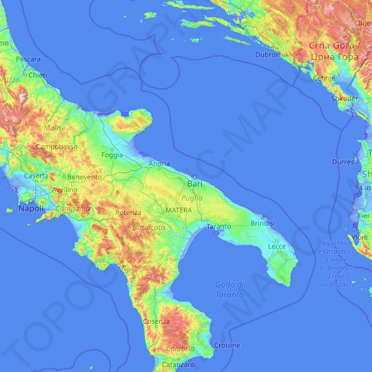 Apulia topographic map, relief map, elevations map