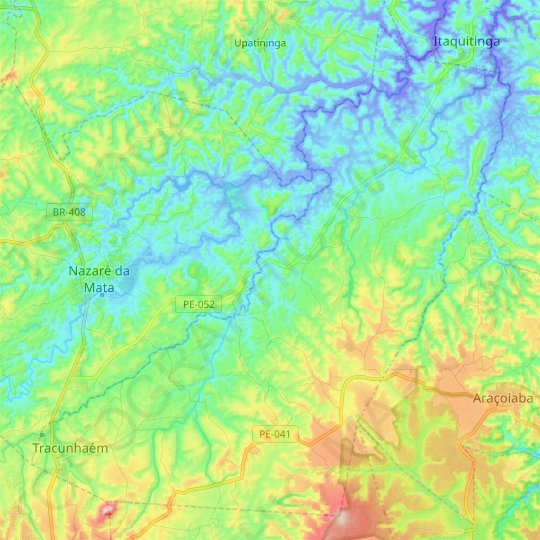 Tracunhaém topographic map, relief map, elevations map