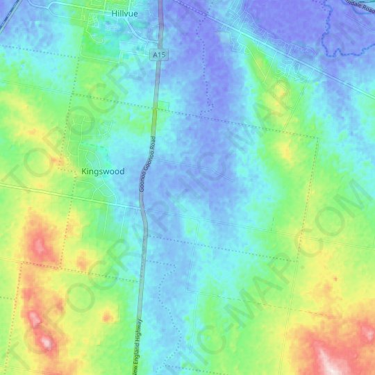 Kingswood topographic map, relief map, elevations map