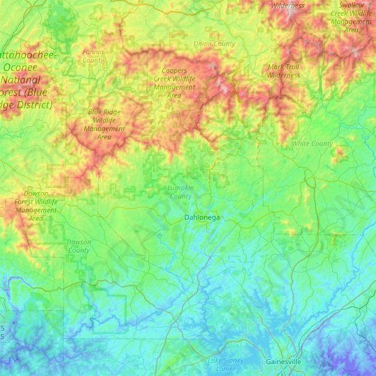 Lumpkin County topographic map, elevation, relief