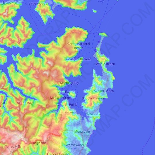 Pittwater topographic map, relief map, elevations map