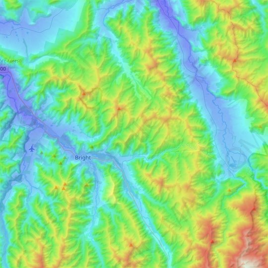 Bright topographic map, elevation, relief