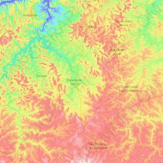Presidente Dutra topographic map, relief map, elevations map