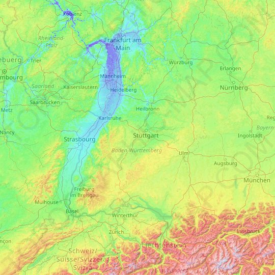 Baden-Württemberg topographic map, relief map, elevations map