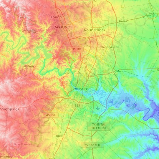 Austin topographic map, relief map, elevations map