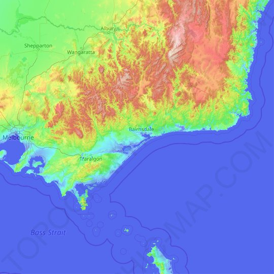 Gippsland topographic map, relief map, elevations map