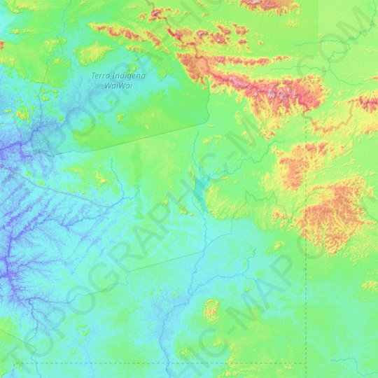 Caroebe topographic map, relief map, elevations map