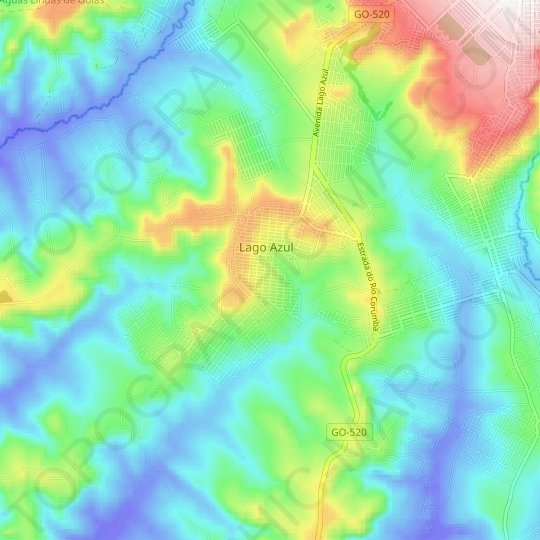 Lago Azul topographic map, relief map, elevations map