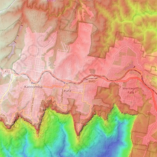 Leura topographic map, relief map, elevations map