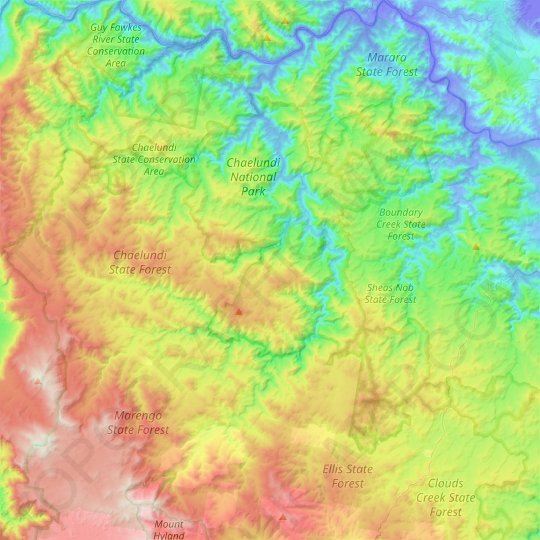 Chaelundi National Park topographic map, elevation, relief