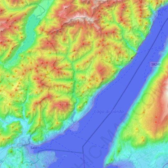 Gargnano topographic map, relief map, elevations map