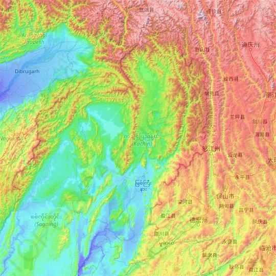 Kachin topographic map, relief map, elevations map
