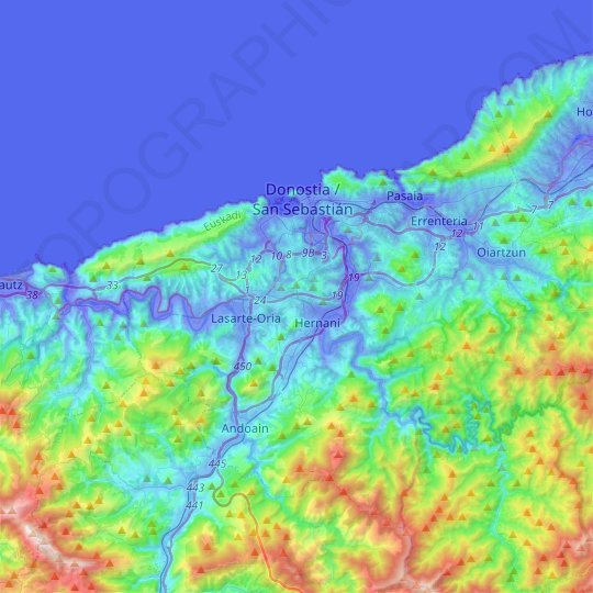 San Sebastián topographic map, relief map, elevations map