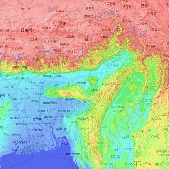 Assam topographic map, relief map, elevations map