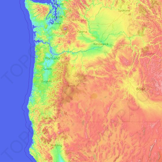 Oregon topographic map, relief map, elevations map