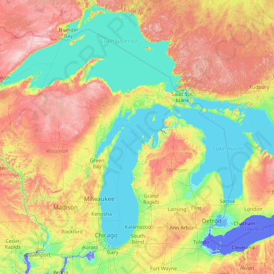Michigan topographic map, elevation, relief