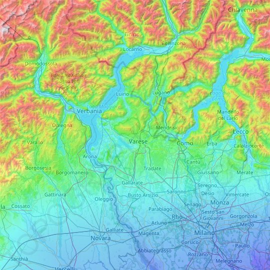Varese topographic map, elevation, relief