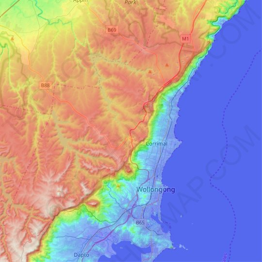 Illawarra Escarpment State Conservation Area topographic map, relief map, elevations map
