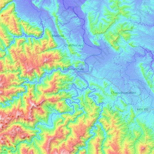 Tamazunchale topographic map, relief map, elevations map
