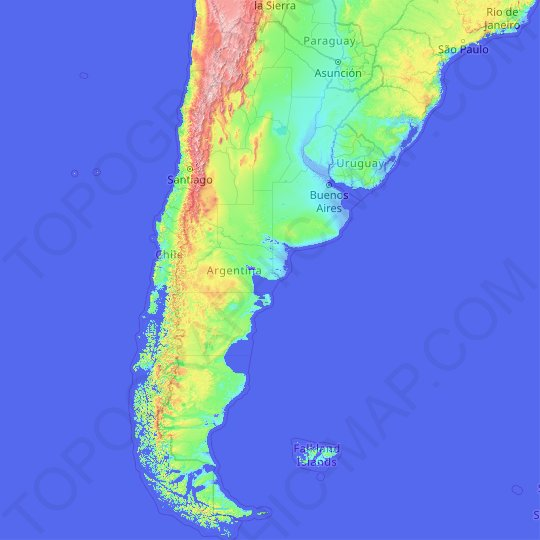 Argentina topographic map, relief map, elevations map