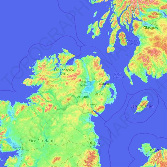Northern Ireland topographic map, relief map, elevations map