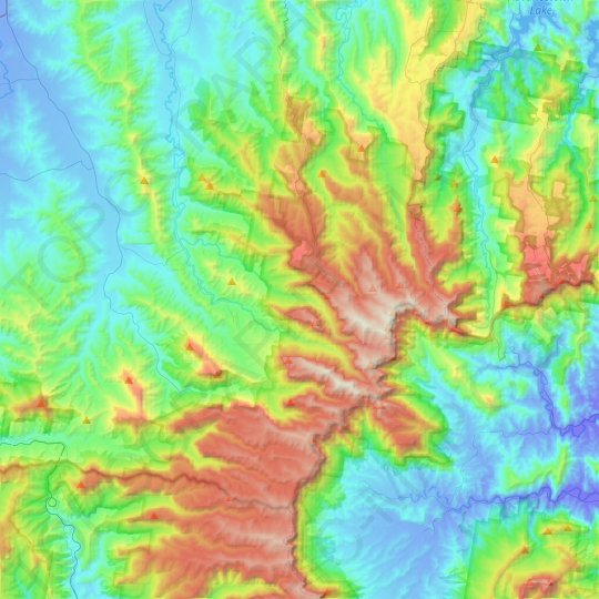 Lamington National Park topographic map, relief map, elevations map