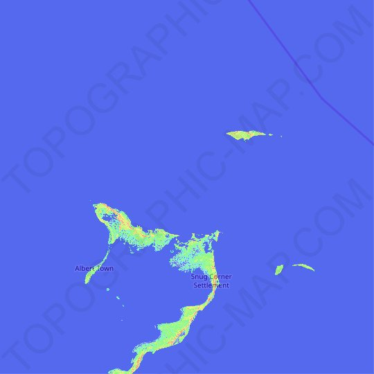 Crooked Island and Long Cay topographic map, relief map, elevations map