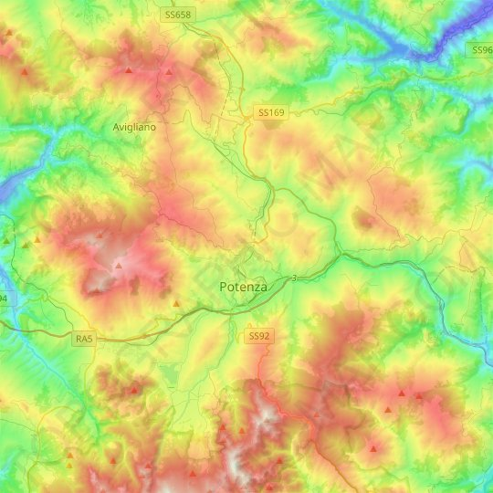 Potenza topographic map, relief map, elevations map