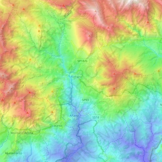 Rofrano topographic map, relief map, elevations map