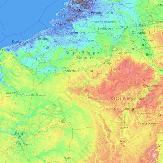 Wallonia topographic map, elevation, relief