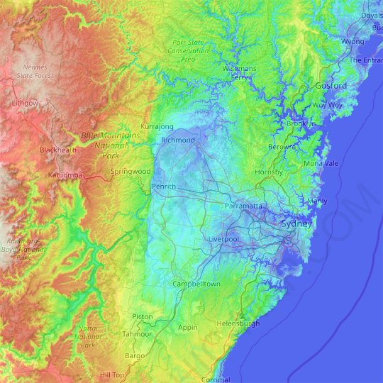 Sydney topographic map, relief map, elevations map