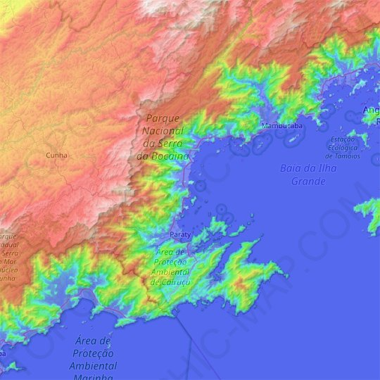 Paraty topographic map, relief map, elevations map