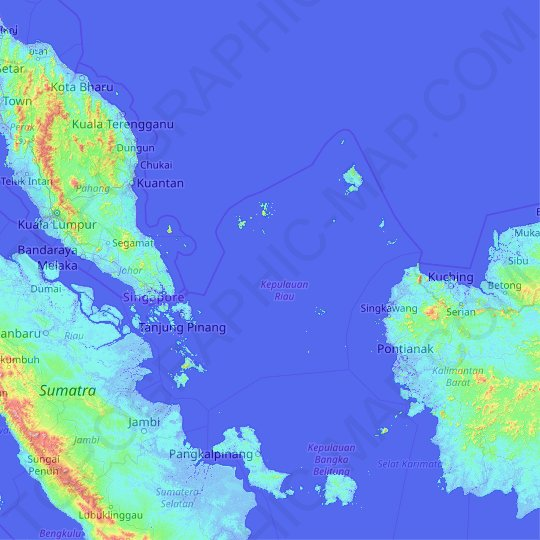 Riau Islands topographic map, relief map, elevations map