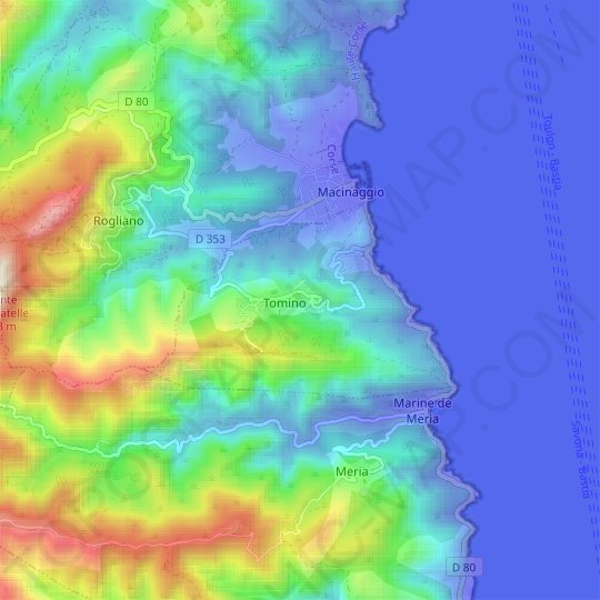 Tomino topographic map, relief map, elevations map
