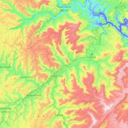Rio do Sul topographic map, relief map, elevations map