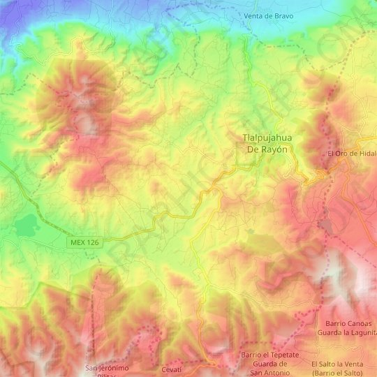 Tlalpujahua topographic map, relief map, elevations map