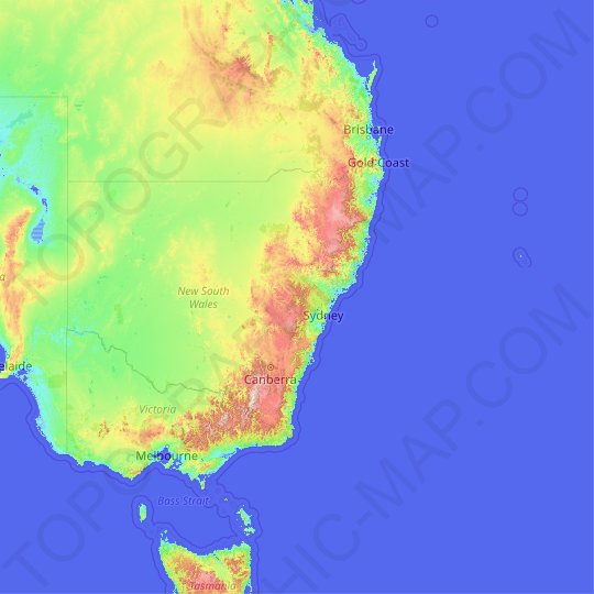New South Wales topographic map, relief map, elevations map