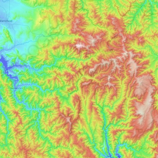 Mount Buller topographic map, elevation, relief
