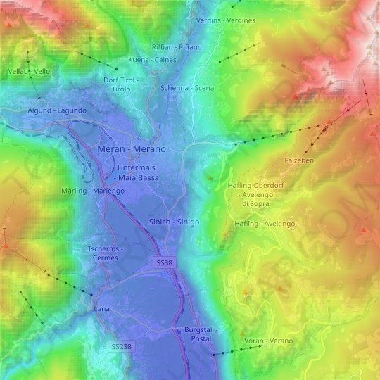Meran - Merano topographic map, relief map, elevations map