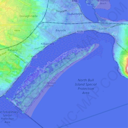 North Bull Island topographic map, relief map, elevations map