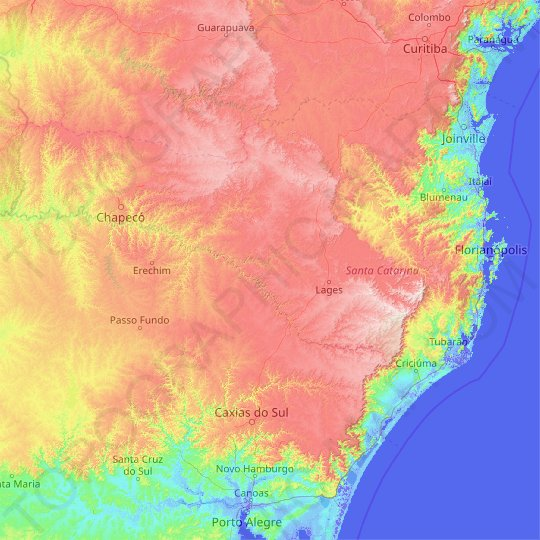 Santa Catarina topographic map, relief map, elevations map