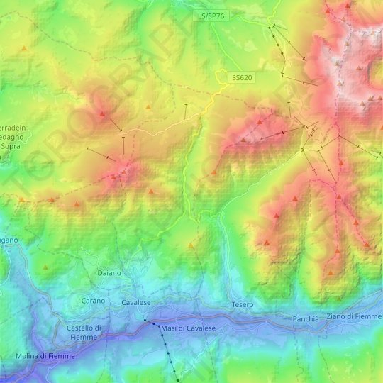 Varena topographic map, elevation, relief