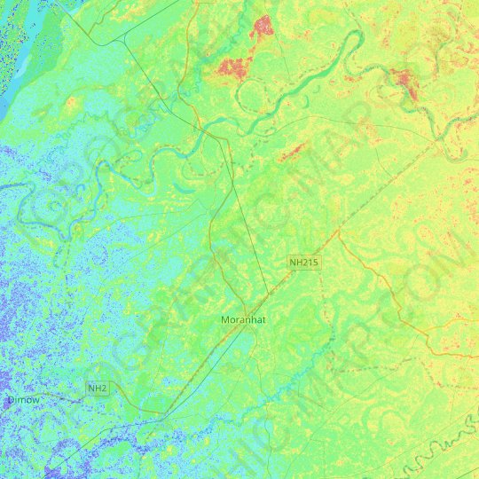 Moran topographic map, relief map, elevations map