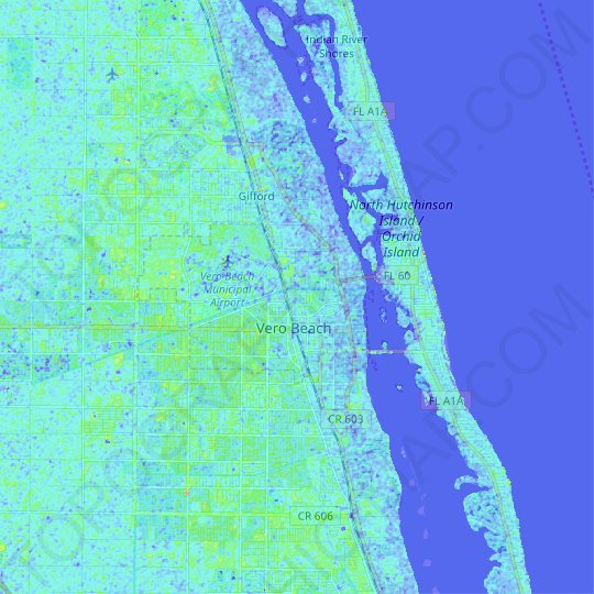 Vero Beach topographic map, relief map, elevations map
