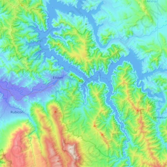 Lake Eildon National Park topographic map, elevation, relief
