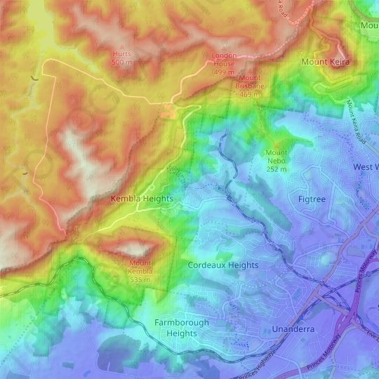 Mount Kembla topographic map, elevation, relief