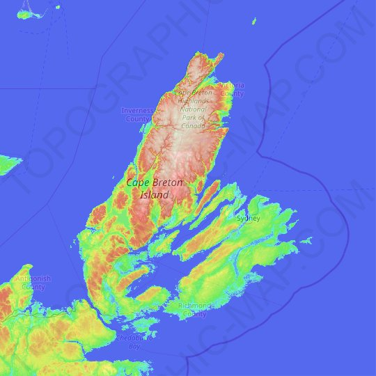 Cape Breton Island topographic map, relief map, elevations map