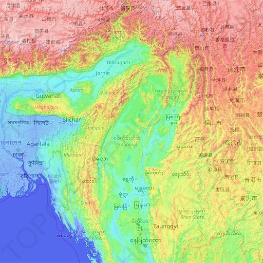Sagaing topographic map, relief map, elevations map