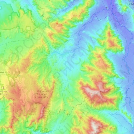 Yackandandah topographic map, elevation, relief